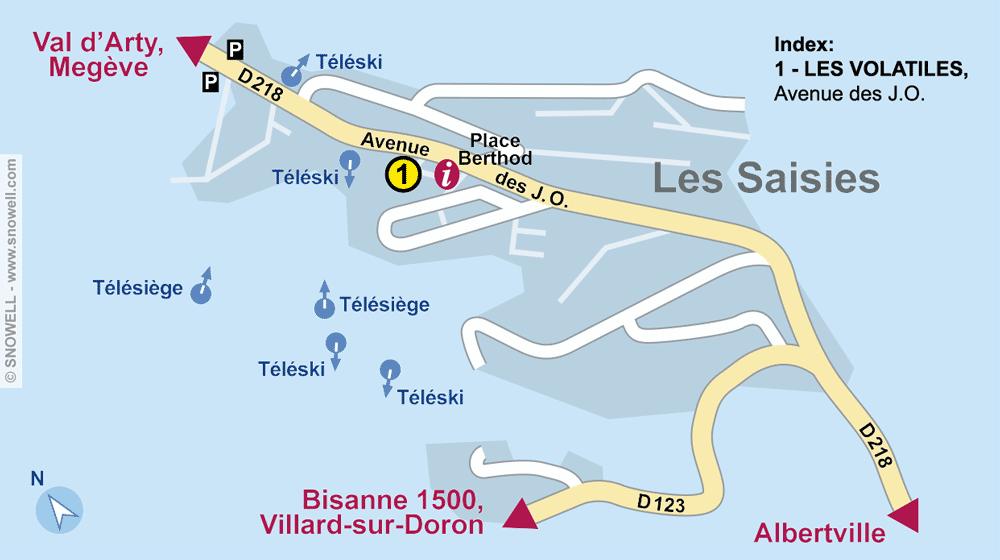 Ski hire shop LES VOLATILES, Les Saisies in Avenue des J.O.