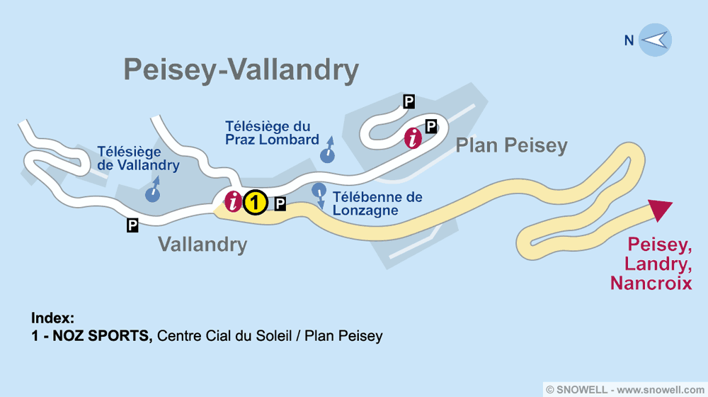 Ski hire shop NOZ SPORTS, Peisey Vallandry in Centre Cial du Soleil / Plan Peisey