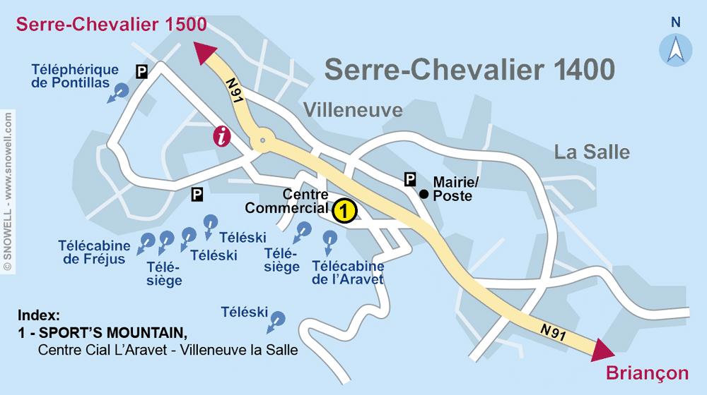 Ski hire shop SPORT'S MOUNTAIN, Serre Chevalier Villeneuve in Centre Cial L'Aravet-VILLENEUVE la Salle