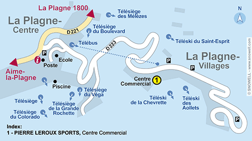 Resort Map La Plagne - Villages