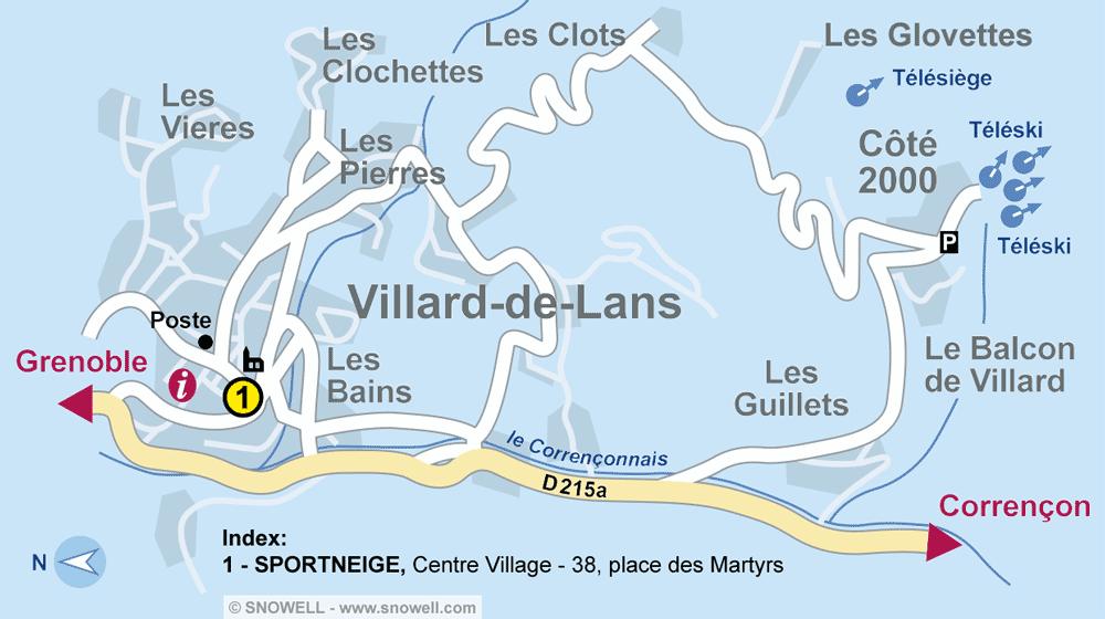 Ski hire shop SPORTNEIGE - SPORT & MODE, Villard de Lans in Centre Village - 38, place des Martyrs