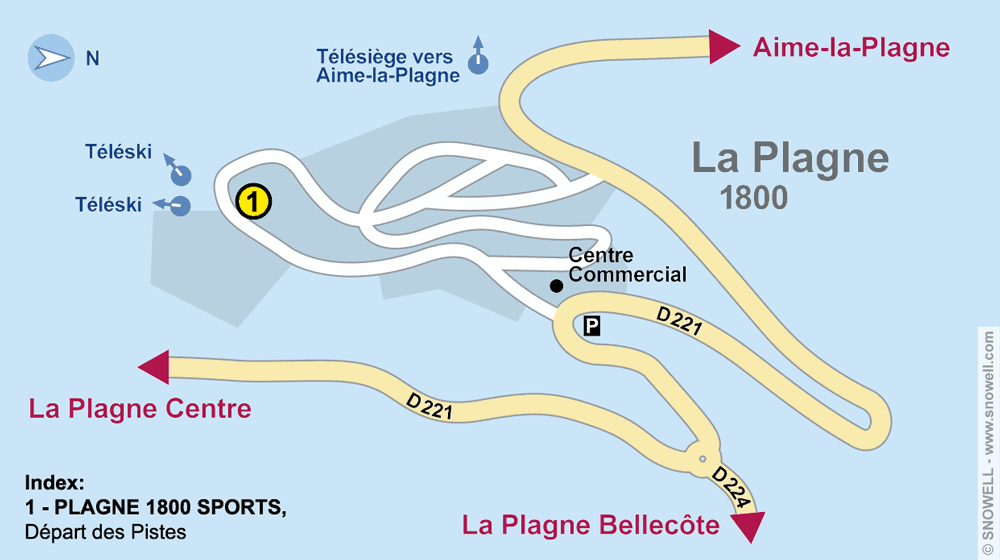 Ski hire shop PLAGNE 1800 SPORTS, La Plagne 1800 in Départ des pistes