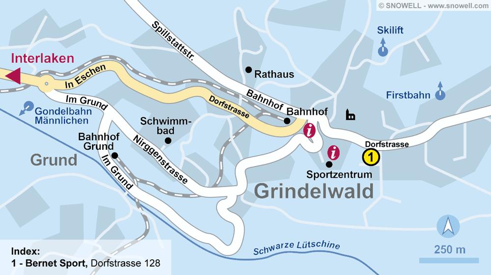 Ski hire shop Bernet Sport, Grindelwald in Dorfstrasse 128