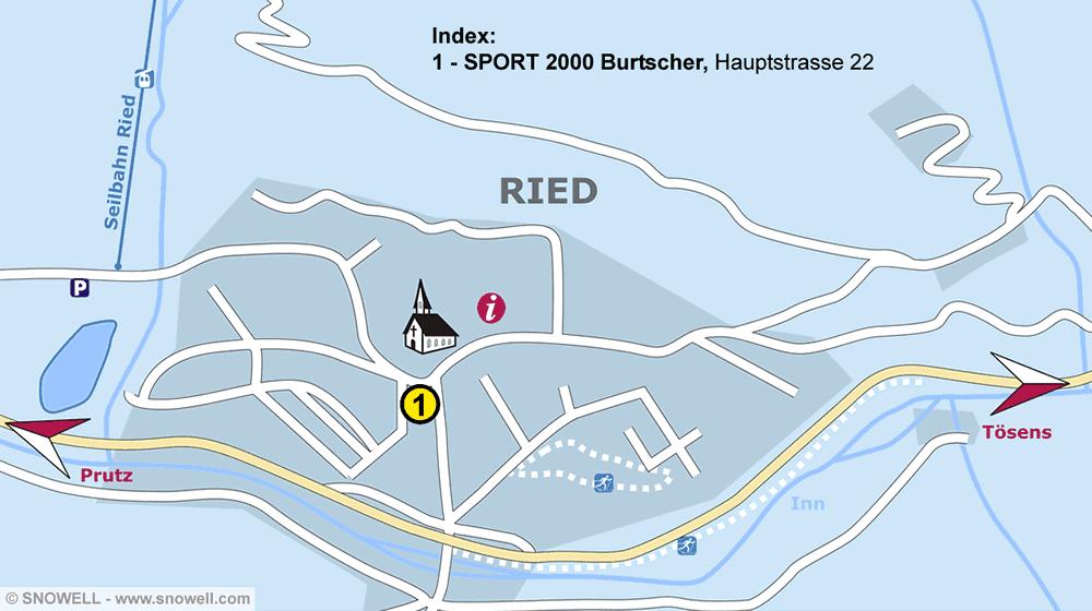 Ski hire shop SPORT 2000 Burtscher, Ried im Oberinntal in Hauptstrasse 22