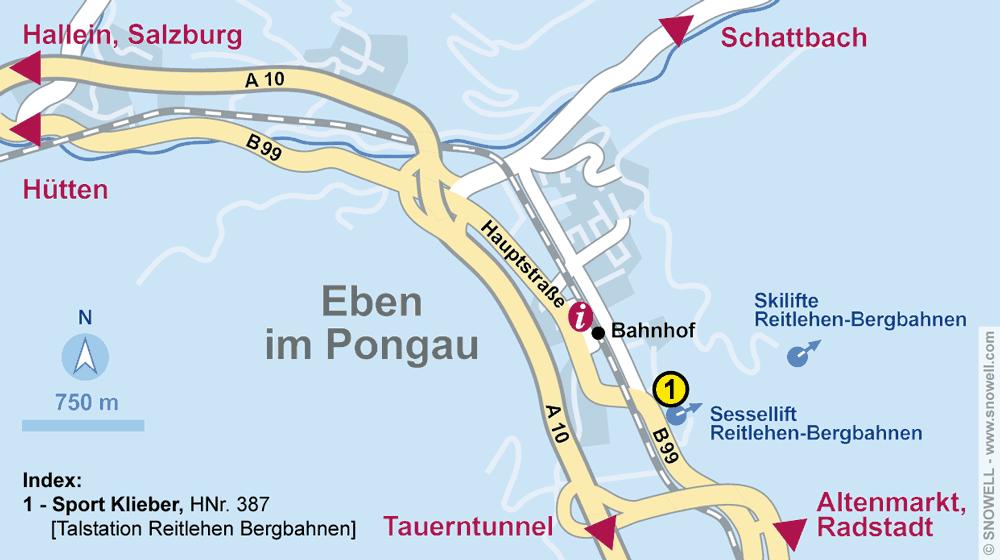 Ski hire shop Sport Klieber, Eben im Pongau in HNr. 387 [Talstation Reitlehen Bergbahnen]