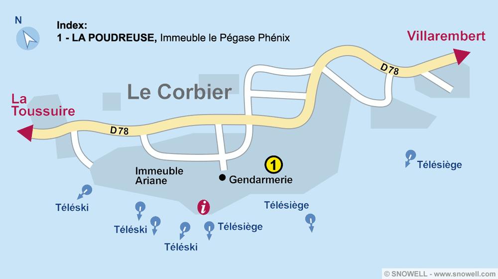 Ski hire shop LA POUDREUSE, Le Corbier in Immeuble le Pégase Phénix