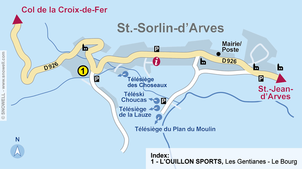 Ski hire shop L'OUILLON SPORTS, Saint Sorlin d Arves in Les Gentianes - Le Bourg