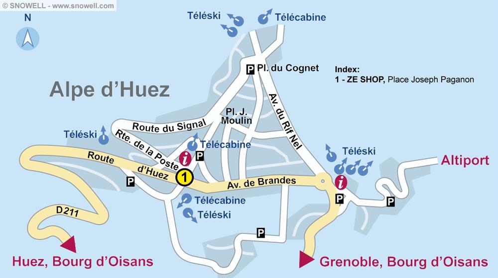 Ski hire shop ZE SHOP, Alpe d'Huez in Place Joseph Paganon
