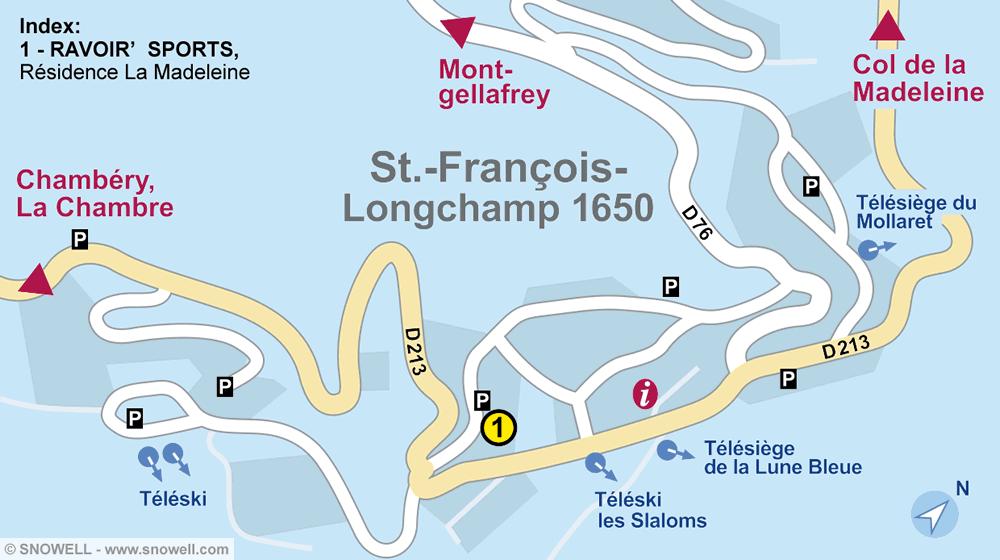 Ski hire shop RAVOIR'SPORTS, Saint Francois Longchamp in Résidence La Madeleine