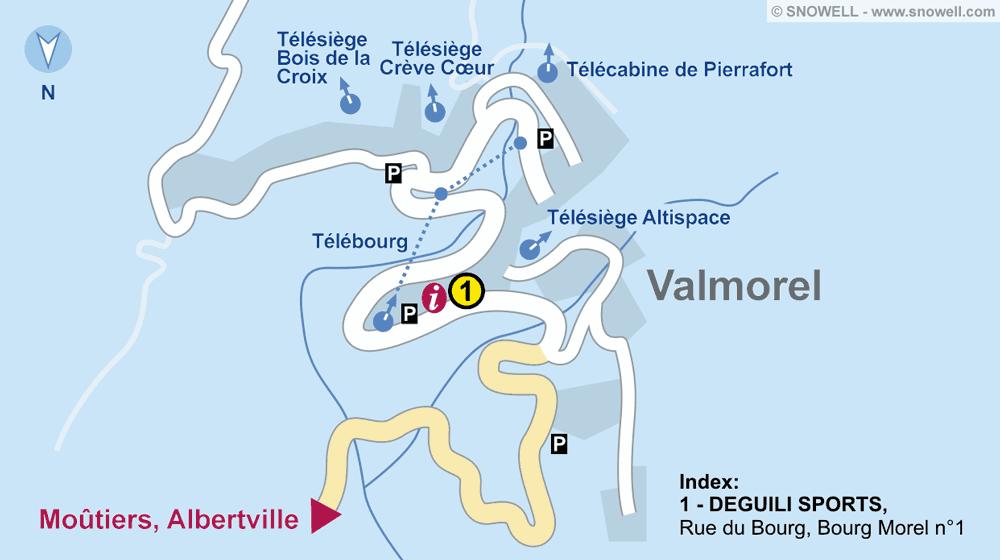 Ski hire shop DEGUILI SPORTS, Valmorel in Rue du Bourg, Bourg Morel n°1